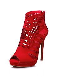 baratos -Mulheres Sapatos Flanelado Primavera Verão Outono Sapatos clube Botas da Moda Gladiador Conforto Botas Caminhada Salto Agulha Peep Toe