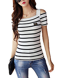 cheap -Women's Off The Shoulder|Fine Stripe Daily Casual All Seasons Shirt