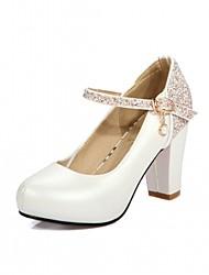 preiswerte -Damen-High Heels-Hochzeit Büro Kleid Lässig Party & Festivität-Kunststoff PU-Blockabsatz-Komfort Neuheit-Blau Rosa Weiß