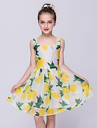A-Line Knee Length Flower Girl Dress - Organza Sleeveless Square Neck with Pattern / Print by YDN