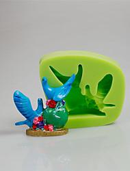 outil de décoration de gâteau belle 3d couple oiseaux art et artisanat silicone moules couleur ramdon