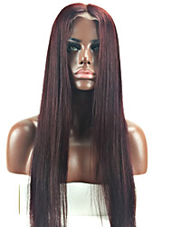 Grade 9A Peruvian Virgin Hair Full Lace Wigs Silky Straight Hair Dark Wine Color Human Virgin Hair Lace Wigs With Adjustable Strap