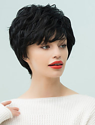 Prevalence  Oblique bangs Short Natural Wavy Human Hair Wig