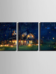 E-HOME Stretched LED Canvas Print Art  Little Cabin In The Wood LED Flashing Optical Fiber Print Set of 3