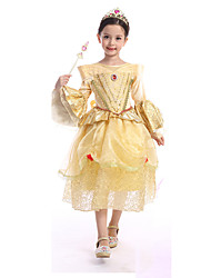 Inspired by Cosplay Princess Belle Deluxe Yellow Party Dress Costume Costumes Cosplay Suits  Half Sleeve For Kids