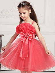 cheap -Kids Girls' Big Bowknot 3D Rose Flower Princess Layered Pageant Gauze Tutu Braces Full Dress