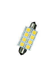 8 X Warm White 41MM 5050 8SMD Festoon Dome Map Interior LED Light bulbs DE3423 6418