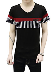 cheap -Men's Daily Sports Beach Plus Size Casual Active Street chic Summer T-shirt,Solid Striped V Neck Short Sleeves Cotton Medium