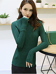 economico -Standard Pullover Da donna-Per uscire Casual Sensuale Tinta unita Blu Rosa Rosso Bianco Nero Marrone Grigio Verde Giallo RotondaManica