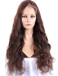 cheap -Human Hair Lace Wig Body Wave Full Lace Glueless Full Lace 100% Hand Tied African American Wig Natural Hairline 150% Density Medium Brown