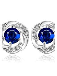 Boucles d'oreille goujon Zircon cubique Zircon Cuivre Plaqué argent Mode Bleu Bijoux Quotidien Décontracté 1 paire