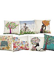 abordables -7 PC Lino Cobertor de Cojín Funda de almohada,Floral Sólido Con TexturasModerno/Contemporáneo Casual Oficina/ Negocios