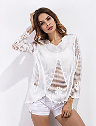 cheap -Women's Polyester T-shirt - Jacquard, Lace