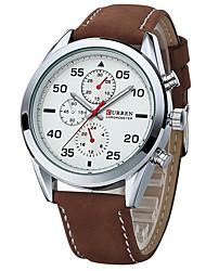 abordables -Hombre Cuarzo Reloj de Pulsera Gran venta Cuero Auténtico Banda Encanto Reloj de Vestir Múltiples Colores