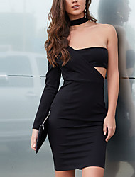 Women's Off The Shoulder Party Club Sexy Simple Bodycon DressSolid Slim Hollow Out Backless Cut Out Off Shoulder Above Knee Long Sleeve