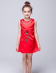 cappotto / colonna breve / mini fiore ragazza vestito - taffettà nylon collo di gioiello sleeveless con perla da ydn