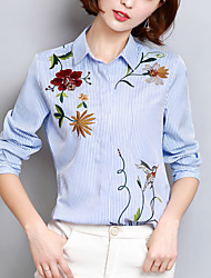 cheap -Women's Going out Work Street chic Spring Fall Shirt,Striped Embroidered Shirt Collar Long Sleeves Polyester Medium
