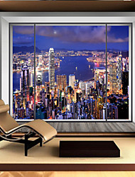 Art Deco Wallpaper For Home Wall Covering Canvas Adhesive required Mural Blue Window City Night View XXXL(448*280cm)XXL(416*254cm)XL(312*219cm)