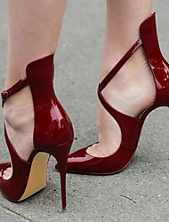 cheap -Women's Shoes Cashmere Patent Leather Leatherette Spring Summer Fall Heels Stiletto Heel Pointed Toe For Office & Career Dress Party &