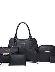 cheap -Women's Bags Other Leather Type Bag Set 6 Pieces Purse Set for Casual All Seasons Black Red Blushing Pink Gray Brown