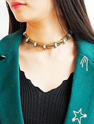 abordables -Femme Turquoise Collier court / Ras-du-cou  -  Circulaire Forme de Cercle Or Argent Colliers Tendance Pour Regalos de Navidad Soirée