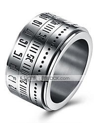 cheap -Men's Stainless Steel Ring - Round Circular Gray Ring For Daily Casual