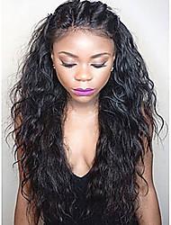 Ženy Paruky z přírodních vlasů Přírodní vlasy Se síťkou Celokrajkové 130% Hustota Vlnité Paruka Černá Krátký Střední Dlouhý 100% ručně