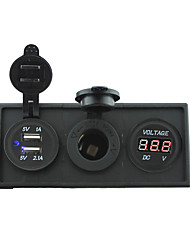 cheap -12V/24V Power charger3.1A USB port and 12V voltmeter gauge with housing holder panel for car boat truck RV(With red voltmeter)