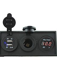 12V/24V Power charger3.1A USB port and 12V voltmeter gauge with housing holder panel for car boat truck RV(With red voltmeter)
