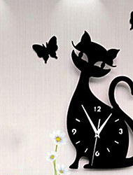 cheap -New Fashion 28x50cm 3d Acrylic Kitten Black Cat Butterfly Large Wall Clock Modern Design Home Decor Decorative Diy Wall Clocks