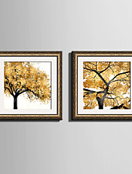 cheap -E-HOME® Framed Canvas Art Yellow Leaves of The Tree Framed Canvas Print One Pcs