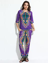 Dame Vintage Skjorte Trykt mønster Bukse