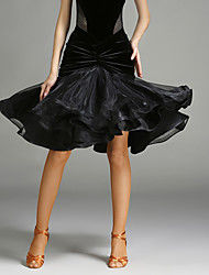cheap -Latin Dance Tutus & Skirts Women's Performance Tulle / Velvet Ruffles Natural Skirt
