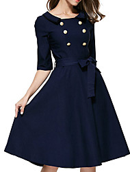 Women's Casual/Daily Formal Simple Sheath Dress,Solid Round Neck Knee-length Above Knee ½ Length Sleeve Polyester Blue All SeasonsLow