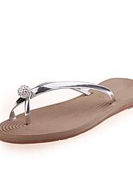 Недорогие -Жен. Обувь Дерматин Весна Осень Обувь через палец Тапочки и Шлепанцы Для прогулок На плоской подошве Круглый носок Кристаллы для