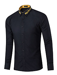 cheap -Men's Casual Cotton Shirt - Solid Colored Classic Collar