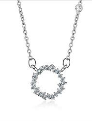 Dame Halskædevedhæng Kvadratisk Zirconium Cirkelformet Sølv Zirkonium Kvadratisk ZirconiumUnikt design Hængende Cirkel Mode