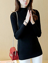 Women's Going out Casual/Daily Simple Street chic Regular Pullover,Solid Pink White Black Gray Turtleneck Long Sleeve PolyesterSpring