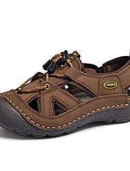 baratos -Homens Pele Primavera / Verão Conforto / MaryJane / Buraco Shoes Sandálias Caminhada Respirabilidade Marron / Amarelo Terra