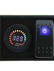cheap -DC 12V LED Digital Panel Display voltmeter Socket with rocker switch jumper wires and housing holder