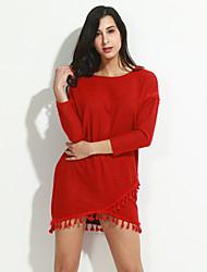 Damen A-Linie Kleid-Ausgehen Urlaub Übergröße Einfach Anspruchsvoll Solide Rundhalsausschnitt Mini Langarm Rot Schwarz Nylon Frühling