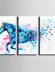 E-HOME Stretched Canvas Art Blue Fantasy Horse Pentium Decoration Painting Set Of 3