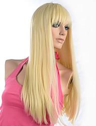 Недорогие -Парики из искусственных волос Прямой / Яки Стиль Без шапочки-основы Парик Блондинка Отбеливатель Blonde Искусственные волосы Жен. Блондинка Парик Парик из натуральных волос