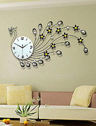cheap -Creative Peacock Set Auger Wall Clock Wrought Iron Large-Sized Mute When The Clock Contemporary Sitting Room Wall Clock