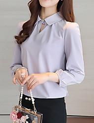 Women's Casual/Daily Work Simple Spring Summer Blouse,Solid Peter Pan Collar Long Sleeves Polyester Thin