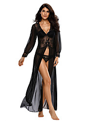 Women Ultra Sexy Suits Nightwear,Sexy Solid-Thin Polyester Spandex Black