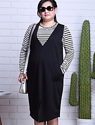 cheap -Women's Daily Work Plus Size Casual Boho Shift Dress,Striped Round Neck Asymmetrical Long Sleeves Cotton Spring All Seasons Mid Rise