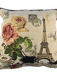 cheap -RayLineDo® Linen Cotton Square Throw Pillow Cover Eiffel Tower Decorative Pillow Case CTJZ21-PC-ET