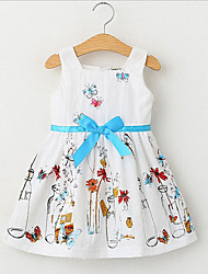 Girl's Floral Dress,Cotton Summer Sleeveless Floral Cartoon Bow White