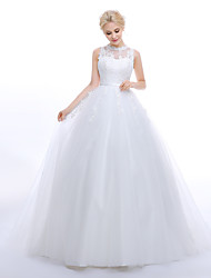 cheap -Ball Gown Princess Jewel Neck Sweep / Brush Train Tulle Wedding Dress with Appliques Sash / Ribbon by LAN TING BRIDE®